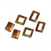 Shelll parts, rectangle brown, 6 pcs