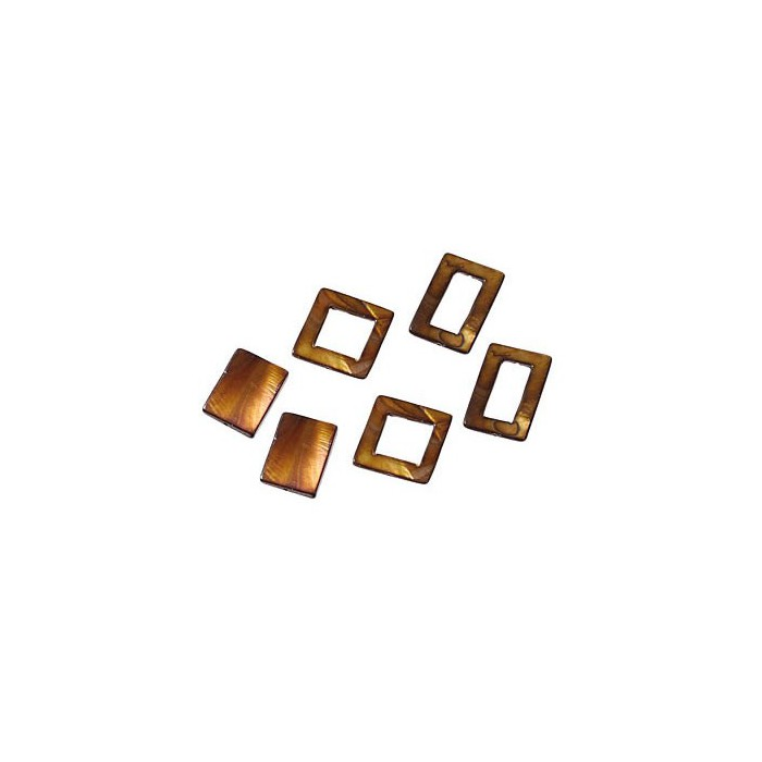 Shelll parts, rectangle brown, 6 pcs