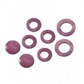 Elements en nacre, cercles violet, 8 pcs