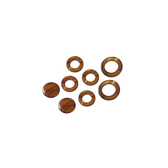 Shelll parts, circle brown, 8 pcs