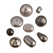Glass wax beads mix, anthracite, 15g