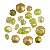 Glass wax beads mix, green, 15g