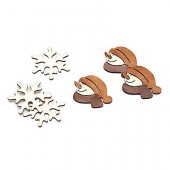Décos en bois flocon et bonh. de neige