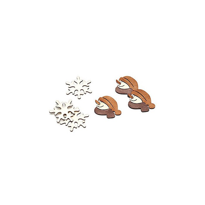 Wooden items, snowflake/snowman