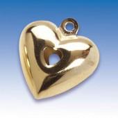 Grelot en forme de coeur, 25mm, or, 1 pce