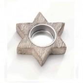 Bougeoir en bois forme étoile 9x10x2.5cm