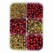 Glass wax beads mix, red-gold