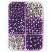 Glass wax beads mix, lilac-silver