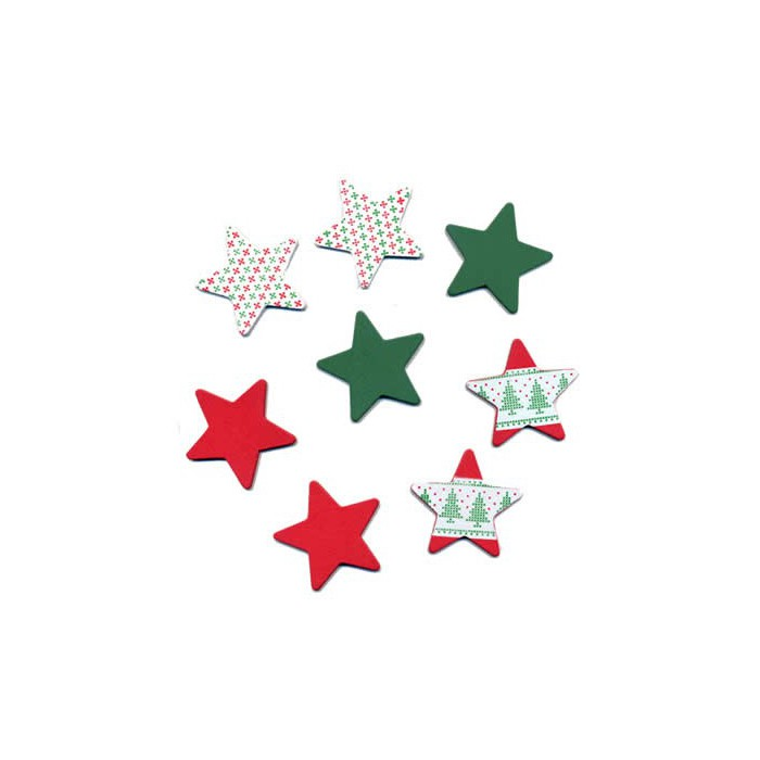 Wooden Stars, green-red, 4cm, 8 pcs