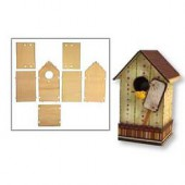 Wooden set bird house 11x10x17cm