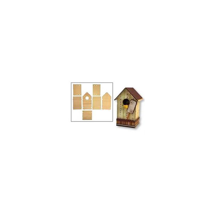 Wooden set bird house 11x10x17cm