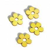 Fleurs en bois 2cm, jaune, 12 pcs