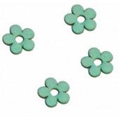 Wooden flowers, 2cm, light blue, 12 pcs