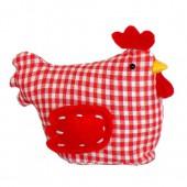 Fabric hen, 11x6x9cm, red