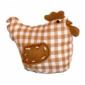Fabric hen, 11x6x9cm, brown