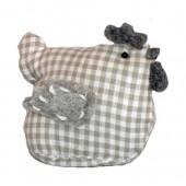 Fabric hen, 11x6x9cm, grey