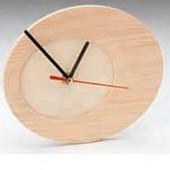 Pendule ovale en bois, 17x20x2cm