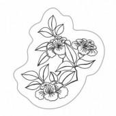 Mini tampon transparent fleur chinoise 45x40mm