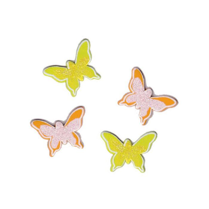 Wooden assorted Butterflies yellow-orange
