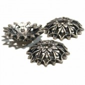 Baroque Cap 18*5mm, silver, 4 pcs