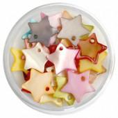 Pendentifs en nacre étoile 12mm, mix