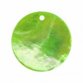 Mother-of-pearl pendants Ø18mm, green