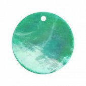 Mother-of-pearl pendants Ø18mm, turquese