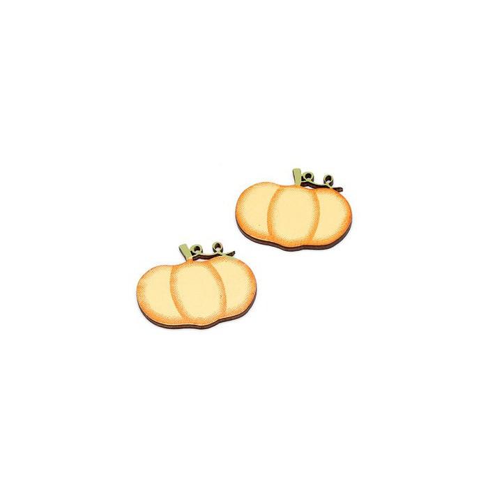 Wooden pumpkins, 3.5cm, 6 pcs
