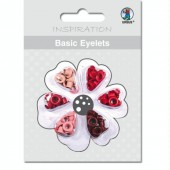 Basic Eyelets - Oeillets ronds, 3mm, tons rouges, 60 pces