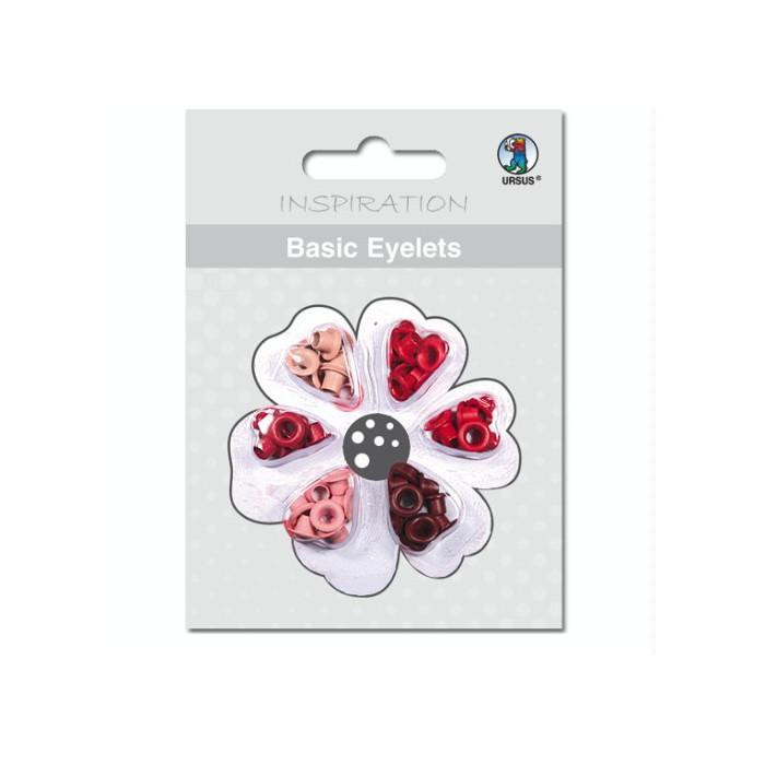 Basic Eyelets 3mm, red, 60 assorted pcs