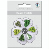 Basic Eyelets - Oeillets ronds, 3mm, tons verts, 60 pces