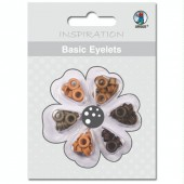 Basic Eyelets 3mm, brown, 60 assorted pcs