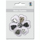 Basic Eyelets - Oeillets ronds, 3mm, tons gris-noir, 60 pces