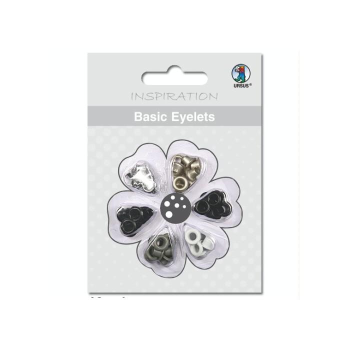Basic Eyelets 3mm, black-grey, 60 assorted pcs