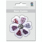 Basic Eyelets - Oeillets ronds, 3mm, tons lilas, 60 pces