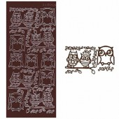 Stickers owl, brown, 1 sheet