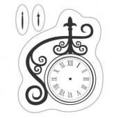 Mini tampon transparent horloge