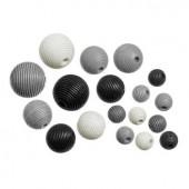 Wooden beads, black mix, 10-20mm, 20 pcs