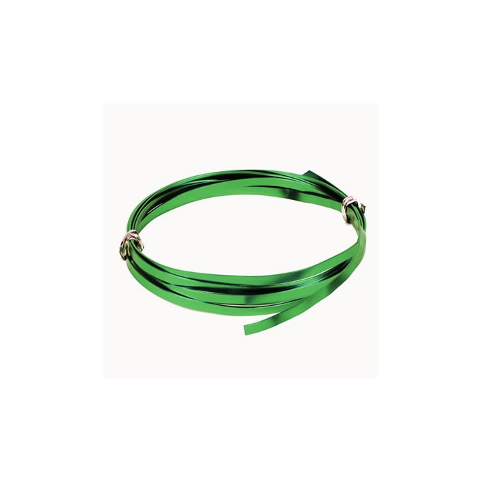 Flat aluminium wire, 1.2x4mm, 2m, green