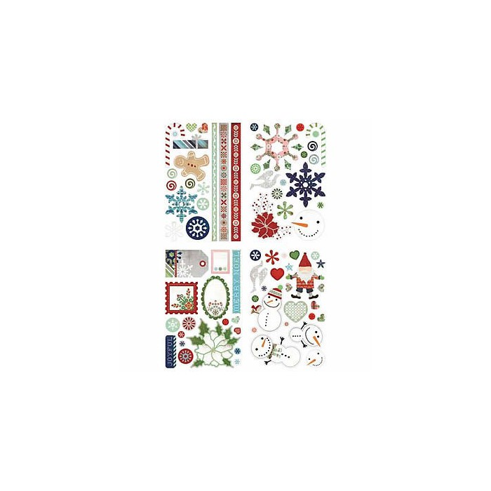 Basic Grey - Nordic Holiday Glitter Chipboards
