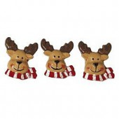 Resin decoration, deer, 2cm, 6 pcs