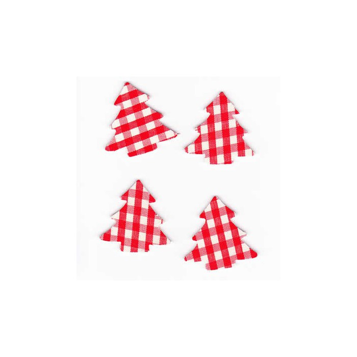Tree red checked, 3.5cm, 8 pcs