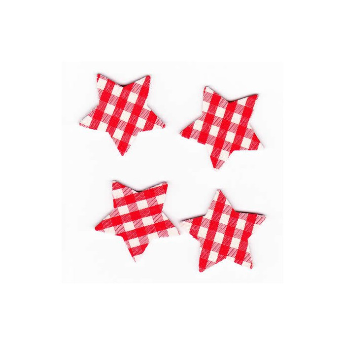 Stars red checked, 3.5cm, 8 pcs