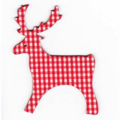 Reindeers red checked, 8cm, 4 pcs