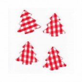 Tree red checked, 2.5cm, 12 pcs