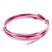 Flat aluminium wire, 1.2x4mm, 2m, pink