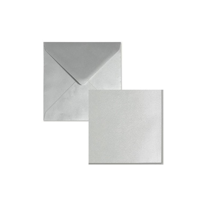 Set 5 cards and envelopes, metallic silver