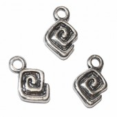 Hanging Square/Spiral, 15x10mm, 4 pcs