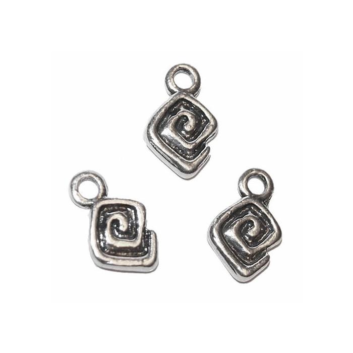 Hanging Square/Spiral, 15x10mm, 4 pcs