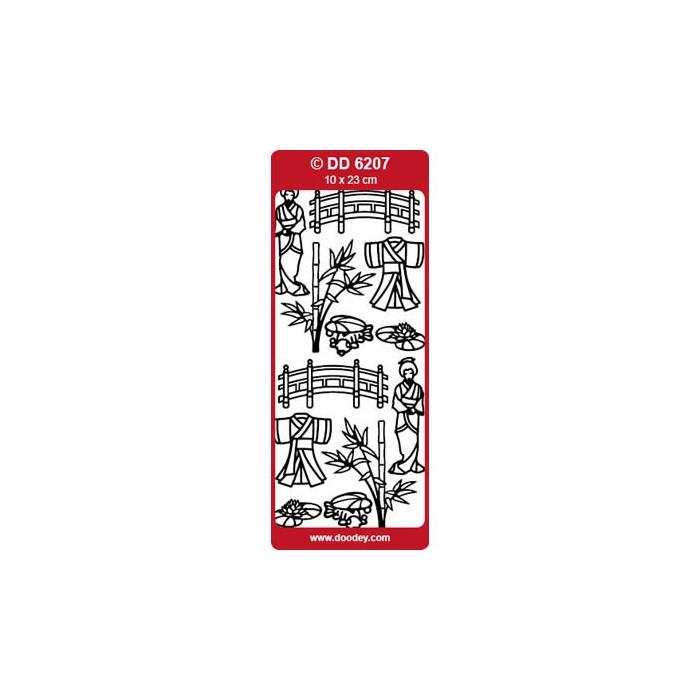 Peel-off stickers Oriental Garden silver